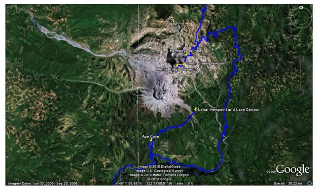figure 1map of field trip in the area of mount st helens wa