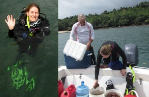 Hillary collecting rhodoliths along the Pacific coast of Panama