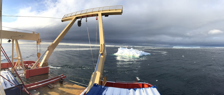 photo of research vessel coring in Antarctica